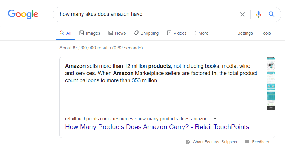How Many SKUs does Amazon have (Screenshot) - [Guide] The Importance of SKUs For Your Online Retail Shop